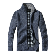 Men's Thick Sweaters Warm Winter Male Cardigan Sweaters coat Casual Knitwear Fleece Velvet Clothing blue 3XL 75kg-81kg