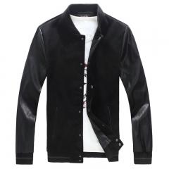 Fashion  Mens Jacket PU Pachwork Korean Slim Fit Mens Designer Clothes Men Cotton Jacket Plus Size black S
