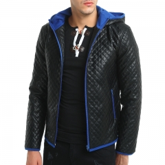 2018 New Jacket Men Hot Sale High Quality Hit Color Hooded Leather Tide Plaid Thick Zipper Jacket black and blue M