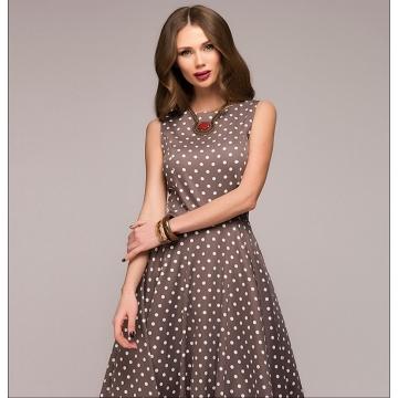 Women dress sleeveless O-neck vestidos Ladies elegant thin dot printing Mid-Calf casual dress Female S coffee