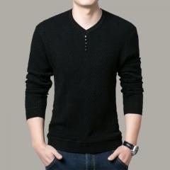 2018 Fashion Wear Solid Color Pullover Men V Neck Sweater Men Long Sleeve Shirt Mens Sweaters black M