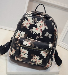 High Quality Women Printing Backpack School Bags For Teenagers PU Leather Ladies Backpacks black one size
