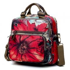 Women Retro Flowers Print Shoulder Bag Muti-Pocket Zipper Travel Backpack Large Capacity Storage bag red one size
