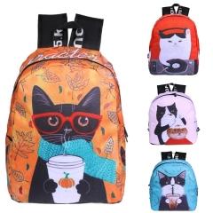 Women Fashion Backpacks lovely cat Oxford Canvas Shoulder School Backpaks for Teenagers Girls orange one size