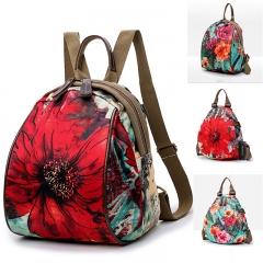 Women Backpack Casual Flower Print Oxford Cloth Shoulder Bag Student Teenage Zipper Shoulder bag red 1 one size