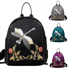 Fashion Backpack Women Nylon School Bags for Teenage Girls Dragonfly Embroidery Female Backpack black one size