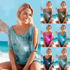 Women Slit Sleeve Feather Print Tops Ladies Casual Summer T Shirt Girl 2018 Tee T-shirt green S