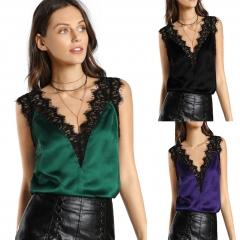 Women V Neck Satin Silk Top Sexy Tops for Ladies  Fitness Tank Top Elegant Workwear  Sleeveless Tops green S