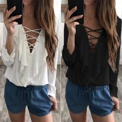 Women Sexy Top Chiffon Blouse 2018 Fashion V Neck Ruffles Long Sleeve Shirt Casual Plus Size white S