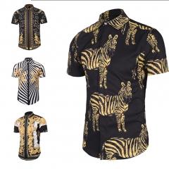 Mens Wear Shirt Printing Men Casual Shirt Slim Fashion Shirts Street Youth Summer Clothes Style 1 M