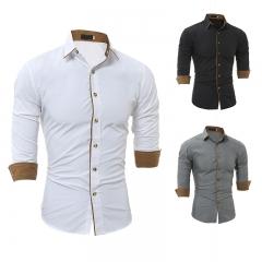 Mens Wear Shirts Slim Fit Male Shirt Solid Long Sleeve British Style Cotton Men's Shirt white M