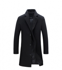 2018 Winter New Fashion Men Solid Color Single Breasted Trench Coat  Men Casual Slim  Woolen Coat black L