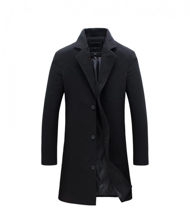 2018 Winter New Fashion Men Solid Color Single Breasted Trench Coat  Men Casual Slim  Woolen Coat black L