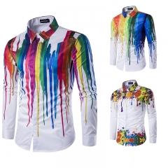 Mens wear Men Shirt Long Sleeve Printing Colorful Shirts Fashion Design Rainbow Pattern Shirt A M