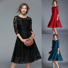 Women Lace Dress Work Casual Slim Fashion O-neck Sexy Hollow Out Blue Red Dresses Ladies Wear S black