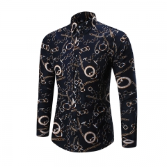 Mens New Print Gold chain Shirts Men Casual Long Sleeve Slim Shirts  Male Fashion Floral Shirts as picture M(Asian size)