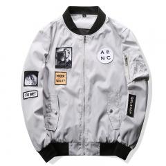 Fashion Men Bomber Jacket Hip Hop Patch Designs Slim Fit Pilot  Jacket Coat Men Jackets Plus Size gray M