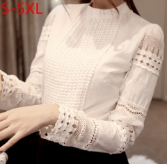 New Women Blouses Slim Bottoming Long-sleeved White Shirt Lace Hook Flower Hollow Plus Size white S