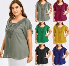 Women V Neck Short Sleeve Shirts Summer Blouse Plus Size Tops Elegant Blouse Boho Tunic gray XL