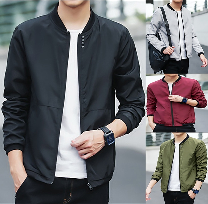 Mens wear Casual Solid Jacket Fashion Slim Bomber Tops Male Baseball windbreaker Coat Plus Size black 3XL