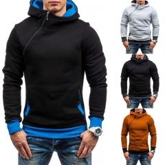 Mens Hoodie Oblique Zipper Solid Color Hoodies Men Fashion Tracksuit Male Sweatshirt Top black & blue M