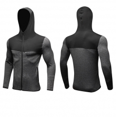 New Fashion Men's Street Casual Jacket Stitching Zipper Casual Hoodie Windproof Quick-drying Jacket gray &  black S
