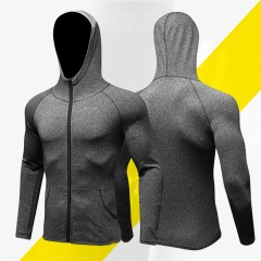 Men Sports Fitness Jacket Quick drying clothes Windproof  Hoodies Outdoor Running Coat Male Tops gray S