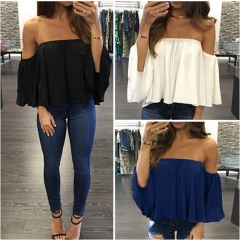 New Arrival Summer T-shirt Fashion Tops Women's Ladies Lace Off-shoulder Casual Tops T Shirt black S