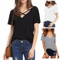 T Shirt Women Short Sleeve V Neck Bandage TShirt Casual Sexy Women T Shirt Lady Tops black S