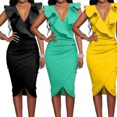 Women Summer Dress Sexy Sleeveless V Neck Pencil Party Dresses Ladies Ruffles Dresses Wear S black