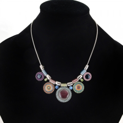 Ethnic Style Collar Choker Crystal Alloy Bead Pendant Necklace Ladies Tribal Necklace Jewelry Multicolor one size
