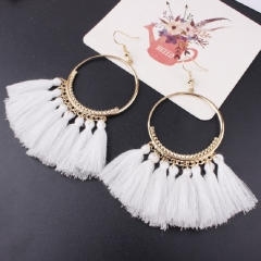 Tassel Earrings For Women Ethnic Big Drop Earrings Bohemia  Jewelry Trendy Rope Long Dangle Earrings white one pair