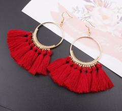 Tassel Earrings For Women Ethnic Big Drop Earrings Bohemia  Jewelry Trendy Rope Long Dangle Earrings red one pair