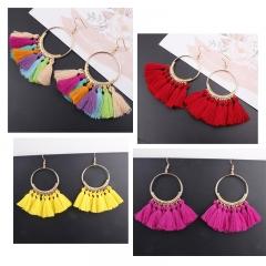 Tassel Earrings For Women Ethnic Big Drop Earrings Bohemia  Jewelry Trendy Rope Long Dangle Earrings multicolor 1 one pair