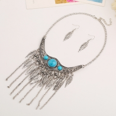 Women Fashion Bohemia Ethnic Style  Necklace and earrings Ladies Jewelry Leaf Tassel Vintage Collars silvery one size