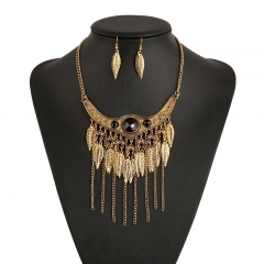 Women Fashion Bohemia Ethnic Style  Necklace and earrings Ladies Jewelry Leaf Tassel Vintage Collars gold one size