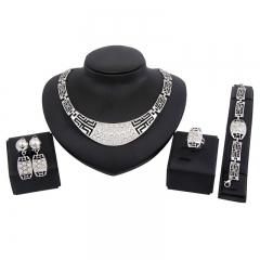 Women 5 piece New alloy Necklace Pendant Earring Studs Bracelet Wedding Rings fashion Jewellery silvery as picture