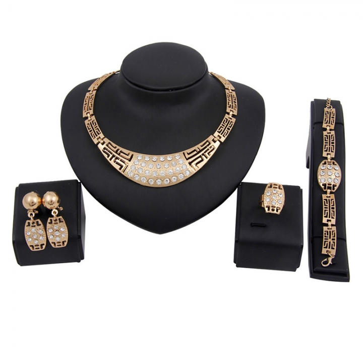 Women 5 piece New alloy Necklace Pendant Earring Studs Bracelet Wedding Rings fashion Jewellery gold as picture