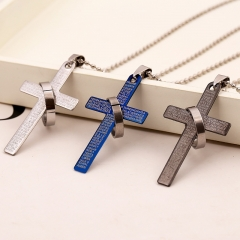 Fashion Stainless Steel Pendant Christian Bible Prayer Cross Pendant  Necklace Charming  Jewelry blue 1 pc