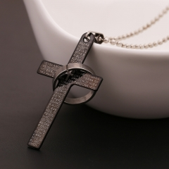 Fashion Stainless Steel Pendant Christian Bible Prayer Cross Pendant  Necklace Charming  Jewelry black 1 pc