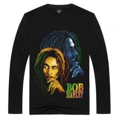 2018 Fashion Men's Sports 3D T-Shirt BOB Rock Round Neck Men's Print Long Sleeve T-Shirt black S Cotton