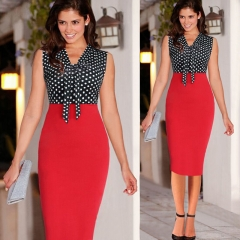 Women Sexy Patchwork Bow Casual Summer Dress,Elegant Cocktail Party Office Bodycon Pencil Dresses M red
