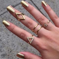 Women Jewellery 5 piece/Set New Beautiful arrow triangle diamond Metal suit Rings gold one size