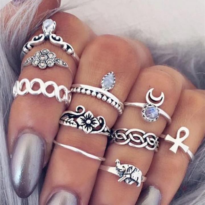 Women 10 piece/Set New Beautiful Carved Flower gem crystal Rings Ladies Jewellery gift silvery diameter:1.5cm