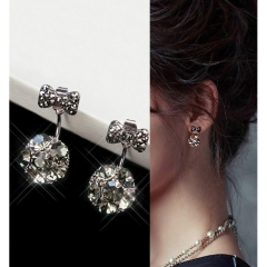 New Ladies Beautiful Bow crystal Drop stud earrings For Women Jewellery Two Ways To Wear blue one pair