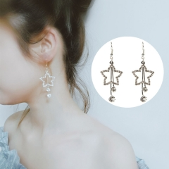 1 Pair/Set New Beautiful Personality Gold Silver hollow Pentagram Drop earrings For Women Jewellery silvery one pair