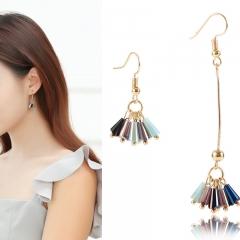 1 PairLadies Beautiful Personality Long tassel asymmetrical crystal earrings Women Christmas Gift as picture one pair