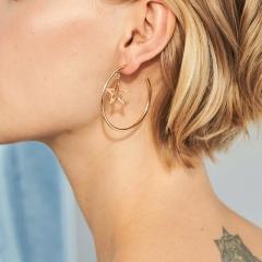 1 Pair/Set Ladies New Beautiful Personality geometric metal earrings Women  Jewellery Christmas Gift gold one size