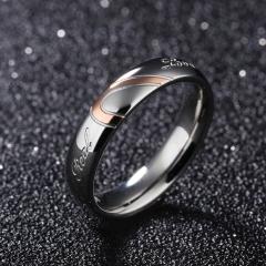 Men Women  Beautiful Personality Titanium steel couple rings  Lover wedding Jewellery Gift Women-diameter1.73cm one piece