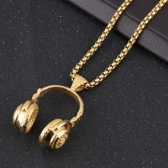 Mens Hip Hop Punk Style Necklace Choker Microphone Earphone Pendant Necklaces Jewelry Accessories gold as picture